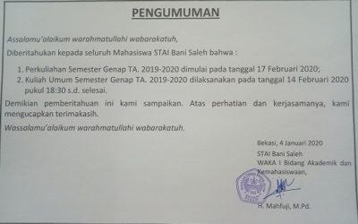 PENGUMUMAN KULIAH SEMESTER GENAP 2019/2020